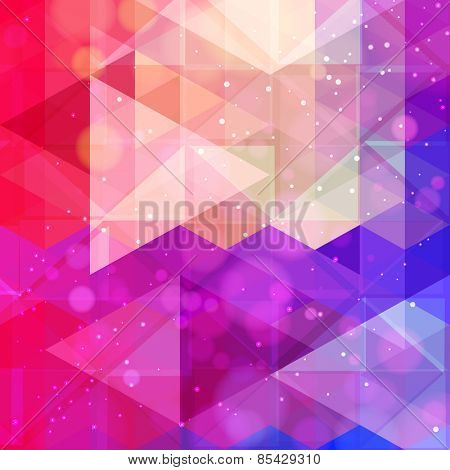 Abstract neon colorful triangle pattern background. Vector.