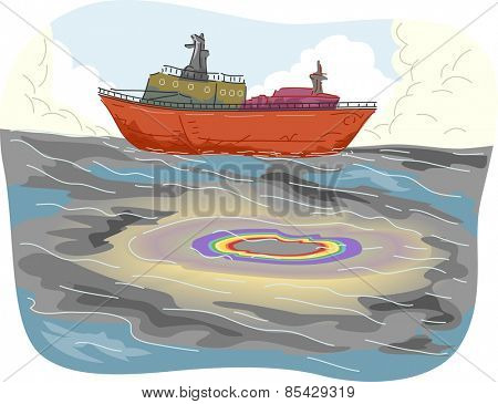 Illustration of Large Pools of Oil Spill Spotted Near a Cargo Ship