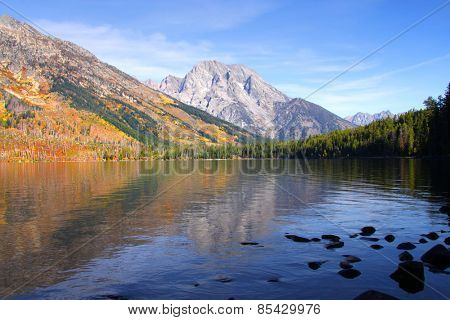 Reflections of Grand Tetons in Jenny lake