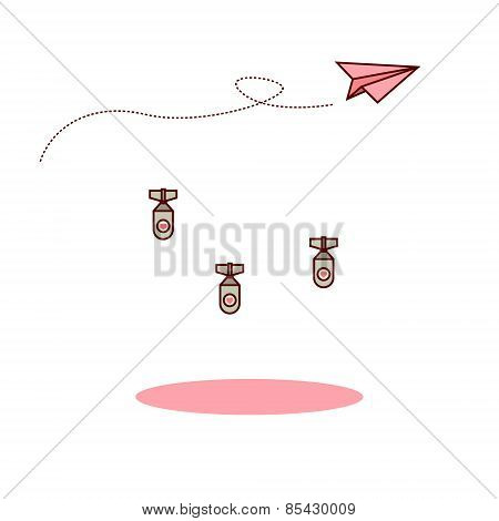 Isolated cartoon pink paper airplane and love bomb