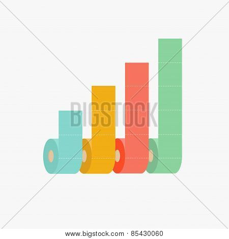 Four Column Toilet Paper Roll Chart Diagram Dash Line Flat Design Infographic Template