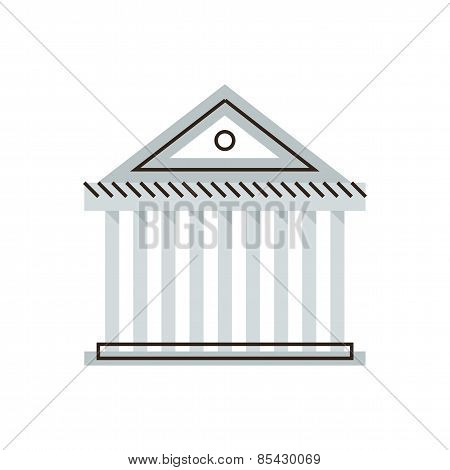 Bank Building Flat Line Icon Concept