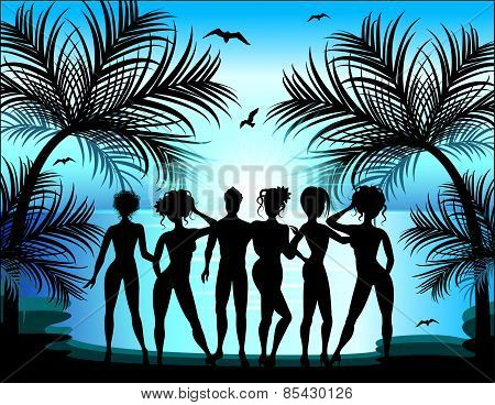 Silhouette Of Young Girls And Boys On The Background Of A Tropical Landscape. Summer Trips.