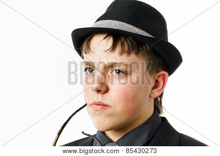 Expressive Teenage Boy Dressed In Suit