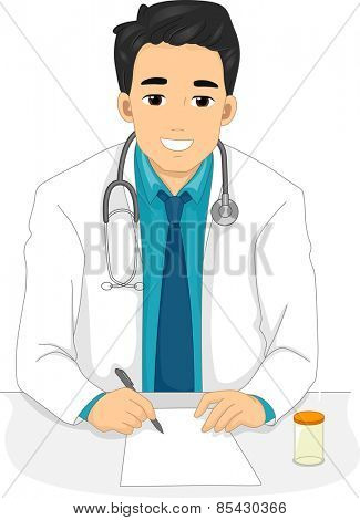 Illustration of a Male Doctor Writing a Prescription