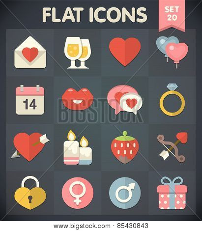 Flat Icons for Web and Mobile Applications Valentines Day