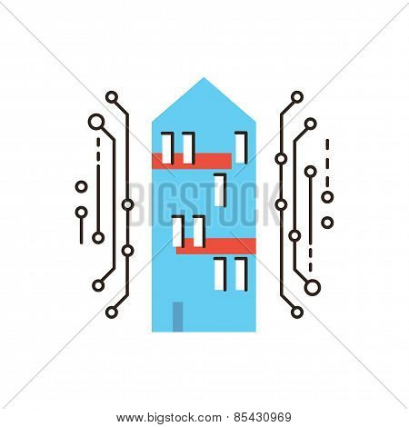 Digital Smart House Flat Line Icon Concept