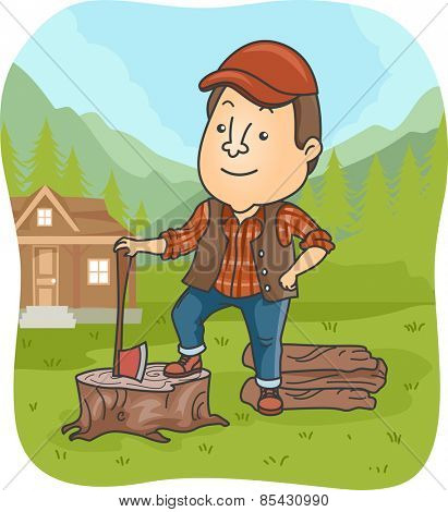 Illustration of a Lumber Jack Holding an Ax Standing on a Tree Stump