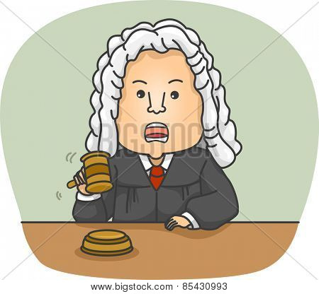 Illustration of an Angry Judge Wearing Traditional Clothing