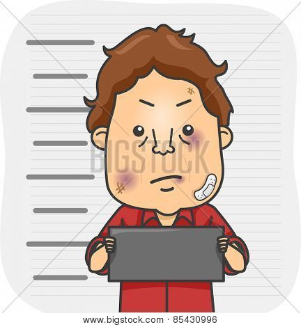 Illustration of a Beaten Up Man Holding a Placard and Having His Mug Shot Taken