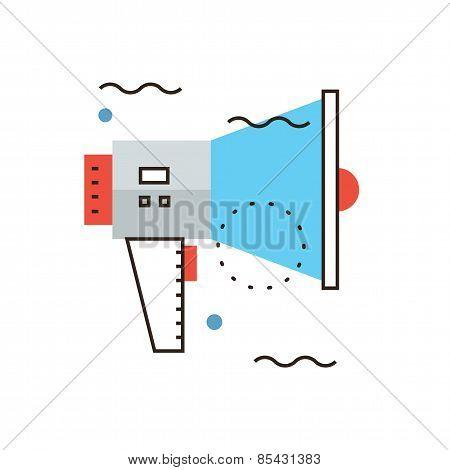 Loudspeaker Flat Line Icon Concept