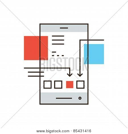 Mobile Application Flat Line Icon Concept
