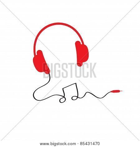 Red Headphones Icon With Black Cord In Shape Of Note Music Background Isolated Flat Design