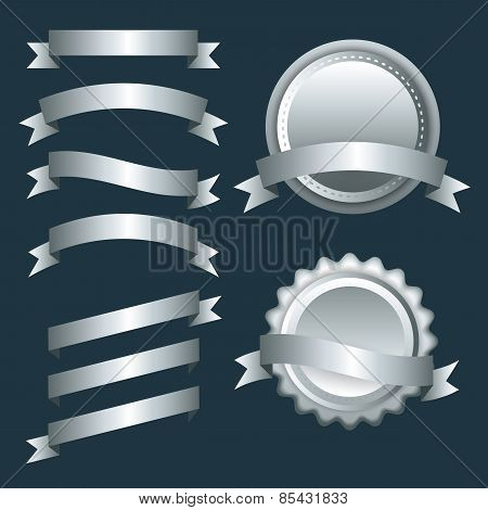 Set of silver ribbons, labels and badges