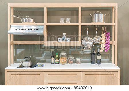 New Modern Kitchen With Wood Shelf Style
