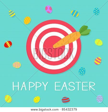 Target With Carrot Arrow And Colored Eggs. Happy Easter Card Flat Design Background