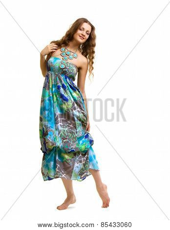 Attractive Young Woman In Bright Blue Dress