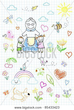 Happy children with grandmother. Sketch on notebook page