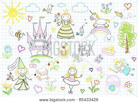 Vector sketches with happy little princesses and fairy. Sketch on notebook page