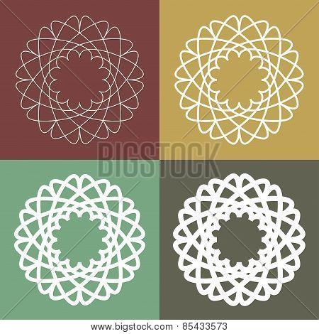 Set of circular linear icons, logos, monograms, emblems