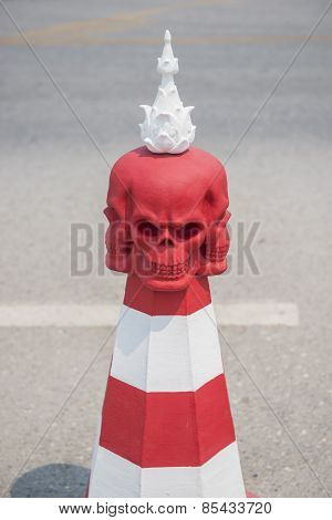 Skull Conceptual sculpture ,Road bollard traffic lane ,Thailand