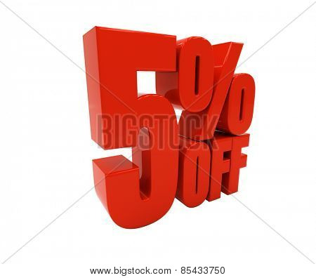 5 percent off isolated on white. Discount 5. 3D illustration