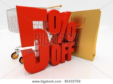 5 percent off. Discount 5. 3D illustration