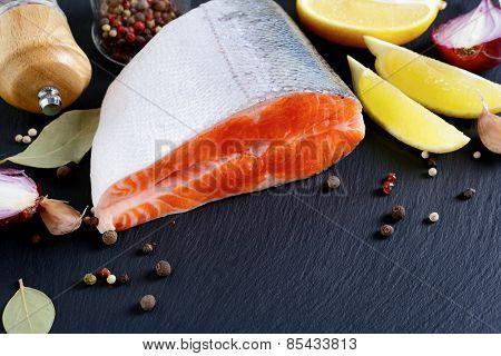 Salmon Steak On Slate
