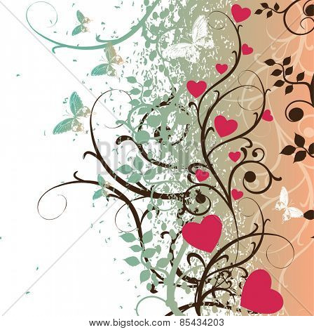 Floral spring romantic background. Vector illustration.