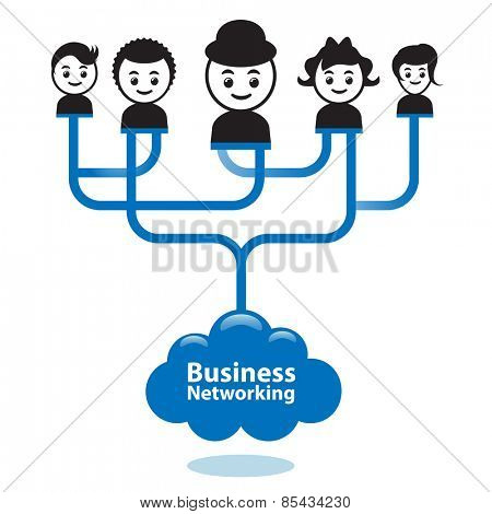 Business networking concept. Businesspeople are connected together via business networking.