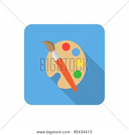 Flat Palette And Paints Icon With Long Shadow. Vector Illustration