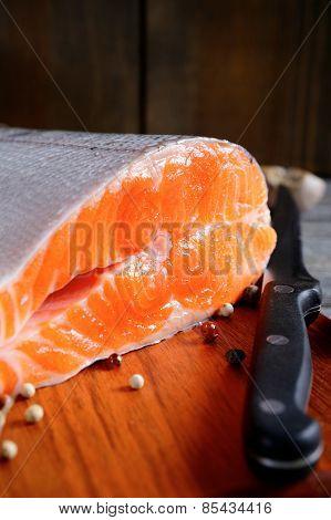 Delicious Portion Of Fresh Salmon Steak Slices
