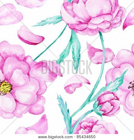 Pink rose watercolor pattern