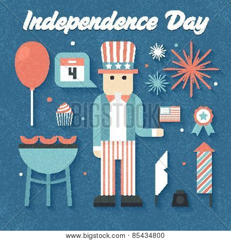 Vector illustration: Flat Icons Set of Independence Day