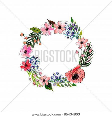 Watercolor flowers wreath