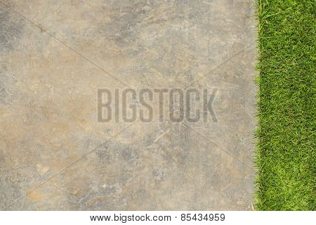 decoration footpath and grass in the garden.