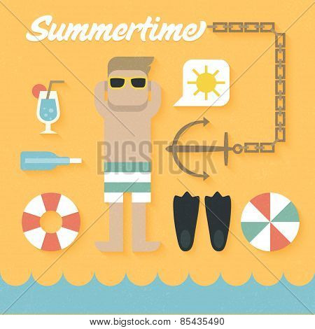 Vector illustration: Flat Icons Set of Summer Holiday