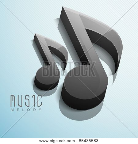 Glossy 3D black musical notes on shiny abstract sky blue background.