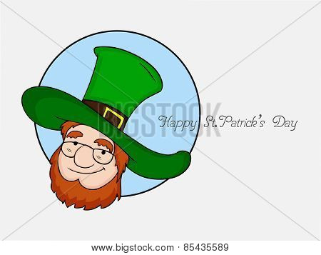 Happy St. Patrick's Day celebration with smiling leprechaun on grey background, can be used as sticker, tag or label design.