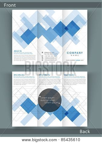 Tri Fold flyer, brochure or template presentation with abstract design in white and blue combination.