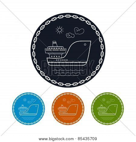 Icon  Cargo Ship, Vector Illustration