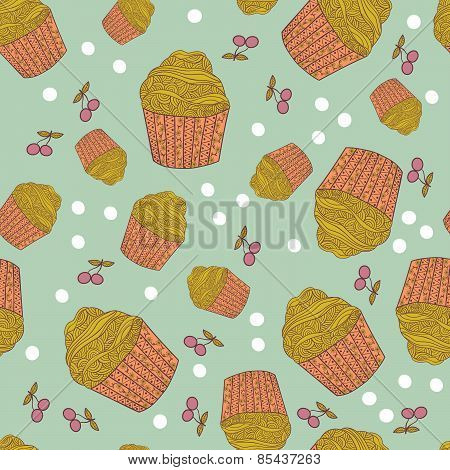 Seamless Pattern With Muffins And Cherry