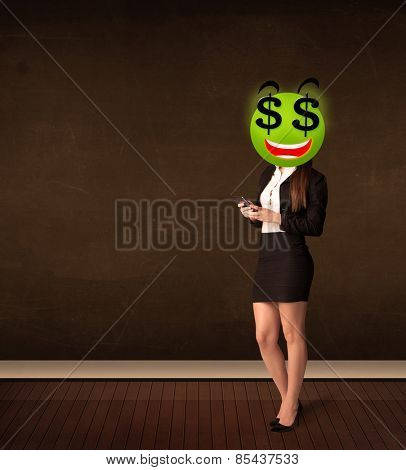 Businesswoman with dollar sign smiley face