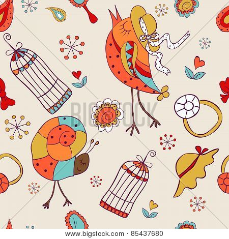 Seamless Pattern For Baby Girls