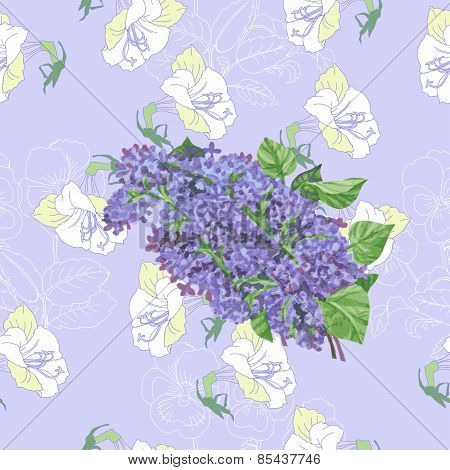 Seamless pattern  with lilac and flowers