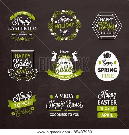 Easter labels and badges on chalkboard background