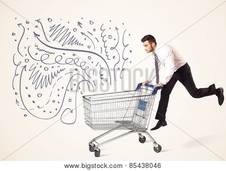Businessman pushing a shopping cart curly lines, arrows coming out of it