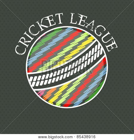 Creative colorful ball on abstract background for Cricket League concept.