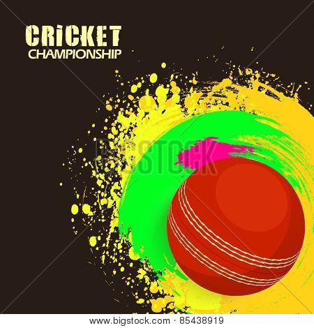 Cricket Championship concept with red ball on colorful splash background.