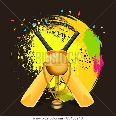 Glossy golden winning trophy with bat on colorful splash background for Cricket concept.